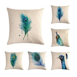 peacocks home decor UK - Linen Cushion Covers 45x45cm Throw Pillowcase Cushion Covers 10Types Peacock Feather Decorative Pillows Home Decor ZY177