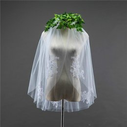$enCountryForm.capitalKeyWord Australia - Real Photos Simple Two Layers Lace Wedding Veil with Comb 1.5 Meters Short Tulle Bridal Veils 2019 Hot Selling Bridal Accessories