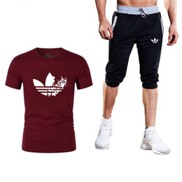 Discount top brand clothing men - 2019 New product Men Two Pieces Sets Brand T Shirts+Shorts Suit Men Summer Tops Tees Fashion Tshirt High Quality clothin