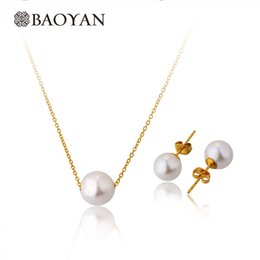$enCountryForm.capitalKeyWord Australia - Simple Elegant White Shell Pearl Choker Necklace Earrings Costume Jewellery Bridal Jewelry Set in Gold Gift for Christmas Girls