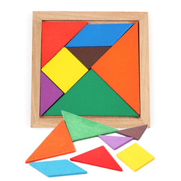 colorful puzzles Australia - Wooden Tangram 7 Piece Jigsaw Puzzle Colorful Square IQ Game Brain Teaser Intelligent Educational Toys for Kids