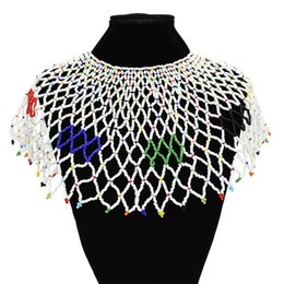 stainless steel neck chains UK - 3 Color Egyptian Ethnic Handmade Acrylic Beads Chain Choker Necklace Bib Collar Statement Necklaces for Women Charm Neck Jewelry