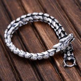 23cm Silver Bracelets Australia - Genuine 925 Sterling Silver Jewelry Heavy Dragon Scale Bracelet For Men 23cm Vintage Punk Style C19021501