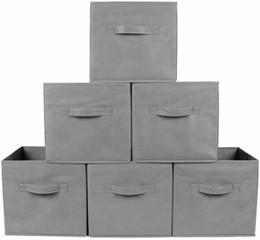 $enCountryForm.capitalKeyWord NZ - Fabric Folding Cube Non-woven Storage Bins for toy Underwear clothes shirt Organizer book Storage box Large Baskets