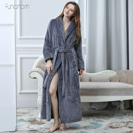e21093713f Women Men Extra Long Warm Dobby Coral Fleece Bathrobe Winter Thick Flannel  Thermal Bath Robe Kimono Dressing Gown Bride Peignoir