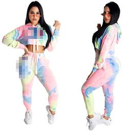 $enCountryForm.capitalKeyWord Australia - Women Champion Tracksuit Gradient Color Hoodies + Pants 2 Pieces Set Woman Long Sleeve Crop Top T shirt Trousers Outfits Sportswear C51405