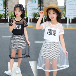 Girls 5t skirt suit sets online shopping - Retail girls boutique outfits summer fashion letter hollow tshirt ruffle tulle skirt sets Y clothing set suit kids designer clothes