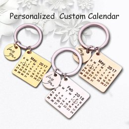 $enCountryForm.capitalKeyWord Australia - Personalized Calendar Keychain Hand Carved Calendar Highlighted with Heart Date Keyring Stainless Steel Private Custom Brelok