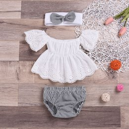 Wholesale Baby clothing girl Kids sets short sleeve romper Stripe short headband causal summer girl romper set girl clothes