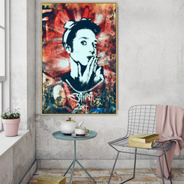 art canvas prints Australia - Hollywood Actress Audrey Hepburn Graffiti Street Art Canvas Painting Posters Prints Wall Art Pictures Living Room Home Decor No Frame