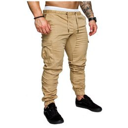 Men Grey Khaki Trousers Australia - Men Pants 2019 New Fashion Brand Tooling Pockets Joggers Pants Male Trousers Casual Mens Joggers Solid Pants Sweatpants 4xl