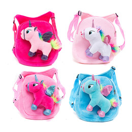 cute kindergarten backpack UK - Unicorn Plush Backpack Kindergarten Girl Baby School Bag Children Cartoon Flamingo Animal Plush Doll Packbacks Cute Unicorn