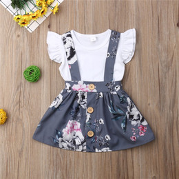 american flying jackets 2019 - Toddler Baby Girls Fly Sleeve Blank White Rompers Floral Belt Dreeses 2pieces Suits Lovely Girls Front Button Overall Dr