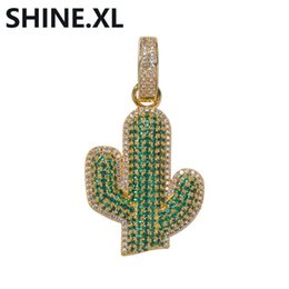 $enCountryForm.capitalKeyWord UK - Hip Hop Solid Black Cactus Micro Paved Zircon Pendant Necklace with Stainless Steel Rope Chain Cuban Chain