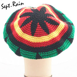 Rasta beanies hats online shopping - Fashion Unisex Jamaica Rasta Gorro Slouch Beanie Hat Winter Warm Knitted Reggae Multi colored Striped Hip Hop Baggy