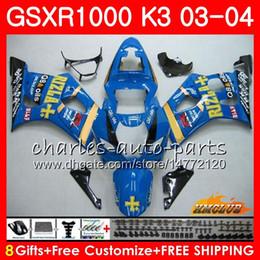 Gsxr rizla fairinG kits online shopping - Body For SUZUKI GSXR K3 RIZLA Blue hot GSXR1000 Bodywork HC Frame GSX R1000 GSX R1000 GSXR Fairing kit