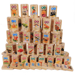 Number Blocks Australia - 100pcs Wooden Blocks Domino Game Chinese Characters English Letter Animal Number Cartoon Pattern Learning Cognitive Toys,