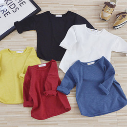 Children White Tees Australia - 2019 New Spring Baby T Shirts Girl Boys Solid Color Long Sleeve T-shirt 1-7 Years Kids Tops Autumn Children Clothing Girls Tee