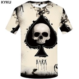 t shirt 3d men funny Australia - KYKU Skull Tshirt Men Card T-shirt Punk Rock Clothes White Ink 3d Print T Shirt Funny Anime Mens Clothing New Casual Summer Tops