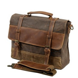 "Chinese  M275 Mens Messenger Bag Waterproof Canvas Leather Men Vintage Handbags Large Satchel Shoulder Bags 14"" Computer Laptop Briefcase manufacturers"