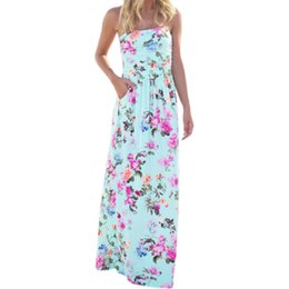 b06dac8d3c9 Print Bohemian Floral Sexy Strapless Summer Women Beach Maxi Long Dresses  Robe Femme Party Dress Mujer Sundress Gv725 Q190510