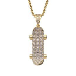 $enCountryForm.capitalKeyWord Australia - Men Women Hip Hop Skateboard Pendants Necklaces Gold Silver Rhinestone CZ Stone Bling Ice Out Fashion Rapper Sport Jewelry