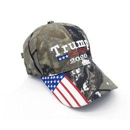 Ingrosso Cappello da baseball Camouflage Donald Trump Berretto da baseball con bandiera USA Keep America Grande Cappello 2020 Ricamo 3D Star Letter Camo regolabile Snapback FFA1850