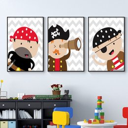 Wholesale bedroom suits resale online - Fashion Pirate Nursery Canvas Prints Baby Boy Nursery Wall Art Suits Grey Posters and Red Painting Pictures Bedroom Home Decor