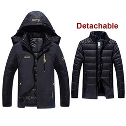 outdoor coating men NZ - 6XL Plus Size Men 3 In 1 Jacket With Down Liner Clothes Outdoor Male Thermal Warm Trekking Hiking Camping Skiing Climbing Coats T190919