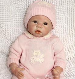 "$enCountryForm.capitalKeyWord Australia - Collec 22"" Reborn Baby Girls Toy Silicone Vinyl Newborn Lifelike Baby With Clothes Brown Eyes Mohair Very Cuted"