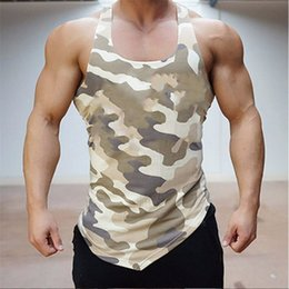 orange bodybuilding tanks Australia - Fitness Men Tank Top Army Camo Camouflage Mens Bodybuilding Stringers Tank Tops Singlet Brand Clothing Sleeveless Shirt