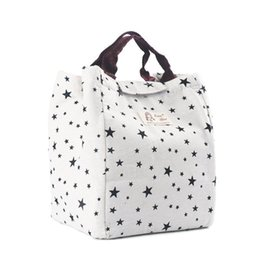 $enCountryForm.capitalKeyWord Australia - BEAU-LUNCH BAG, WELL INSULATED & WATER-SLIDE COATING HAND BAG with Hook and Loop Strip (star pattern)