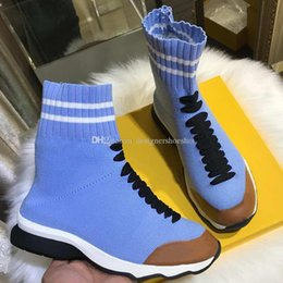 Ladies Lace socks online shopping - Fabric Sneakers Boots High Quality Ladies Popular Speed Canvas Sock Luxury Designer Shoes Womens Fashion Print Breathable Shoes with box L06