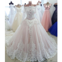 Tie Up Wedding Dress Train Australia - Beautiful Blush Pink Ball Gown Wedding Dresses Off the Shoulder Long Sleeve Bow Tie Sash Wedding Dress Pears Appliques Bridal Gowns