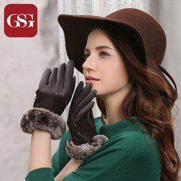 f64f5feced11 GSG Womens Genuine Leather Gloves Luxury Rabbit Fur Gloves Ladies Winter  Touchscreen Leather Driving