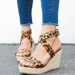 Leopard Sandals Australia - Fairy2019 Print Leopard 43 Will Slope Fish Mouth Straw Plaited Article Woman Belt Buckle High With Sandals