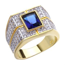 gold rings 14 NZ - Men's Bling Hip Hop Iced Out Gold Color Square Blue Stone Rhinestone Cz Ring Ring Mens Finger Dropshipping Size 7 14