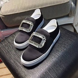 buckled sneakers Canada - Top Quality Luxury Crystal Women Loafers Fashion Silk Buckle Decor Round Toe Slip On Sneakers Outfit Flats Casual Shoes Woman
