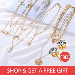 $enCountryForm.capitalKeyWord Australia - Buy 1 get 1 Natural Real Pearl Necklace Necklace Women's Multi-Layer Women's Pendant Vintage Gold BOHEMIA Gift
