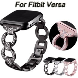 Replacement Bracelet Watch Bands NZ - Luxury Women Rhinestone Bracelet Stainless Steel Watch Band Wrist Strap For Fitbit Versa Smart Watch Replacement Metal wristband