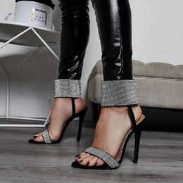 $enCountryForm.capitalKeyWord NZ - Women Sandals Summer Luxury Crystal High Heels Party Wedding Shoes Ladies Sexy Stiletto Open Toe Hook Loop Black Sandals Zapatos