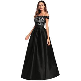 Short Black Lace Top Dresses UK - Women Long Evening Gown Dress Satin Off the Shoulder Floral Lace Top Dress High Waist Formal Dress Black Robe Ete Femme 2019