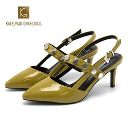 $enCountryForm.capitalKeyWord NZ - Green Women Sandals PU Leather 6CM High Heels Buckle Strap Sandals Rivets zapatos de mujer K-276