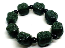$enCountryForm.capitalKeyWord Australia - Fine Jewelry 18MM Mens Natural Dark Green Jade Carved Buddha Beaded Bracelet Free Shipping