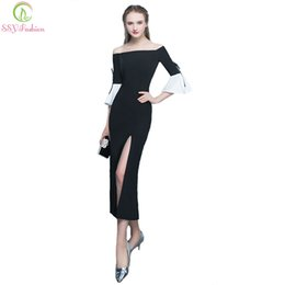$enCountryForm.capitalKeyWord NZ - wholesale New Simple Black High-split Mermaid Evening Dress Slim Sexy Half Speaker Sleeves Tea-length Party Formal Gown