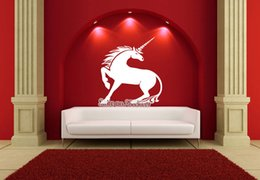 Wall Stickers Design For Kids NZ - A Majestic Unicorn Wall Sticker Removable Horse Head Vinyl Decal Home Decor For Kid Rooms Decoration New Design Monochrome