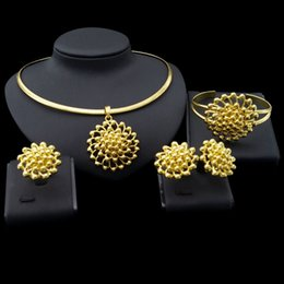 indian bangles accessories Australia - Yulaili Gold Color Flower Shape Ethiopian Jewellery Pendant Necklace Stud Earrings Bangle Ring for Women African Nigeria Wedding Accessories