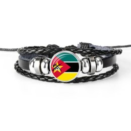 Personalized Bracelets Australia - Personalized Cowhide Leather Rope Beaded Bracelets Glass Cabochon Mozambique National Flag World Cup Football Fan Armband Women Men Jewelry