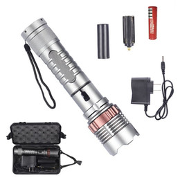 Flash Drive Charger Australia - Waterproof Self Defense Tactical Flashlight Zoom T6 LED Hunting Torch Lotus Head Lamp Flash Light + 18650 Battery + Car AC Charger +Box