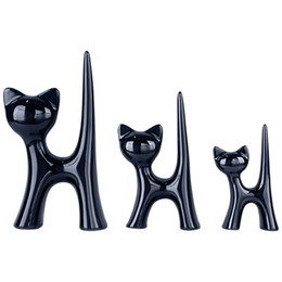 Coffee Housing Australia - 3pcs set European Ceramic Animal Cats Decoration Art Crafts Coffee Bar New House Decor Furnishing Articles Wedding Gifts